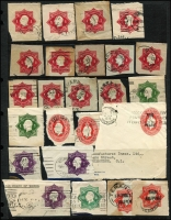 Lot 767 [3 of 5]:KGV Selection Of Cut-Outs: mainly envelopes, incl 1d & ½d doubleton x3, 1d red Star x13, 1d green Star x2, 1d violet Star x3, 1½d on 2d red Star x4, 1½d brown Stars x30 (POSTAGE x5), 2d orange Star x13 (POSTAGE x3). Officials incl 2d red Star x4, 2d orange Star POSTAGE x2, 1½d on 2d red Star. Useful research material, come nice Victorian postmarks seen. (100+)