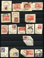 Lot 285 [3 of 3]:Collection In Stock Book: from all States with strength in Victoria. Noted 1961 Katandra North, 1935 blue Noorinbee, 1961 Peterson's and per favour strikes of 1964 Biggara & 1963 W.Tree etc. Handy group. (100s)