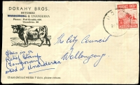 Lot 318 [1 of 3]:NSW & SA Reliefs: mainly on tied covers [1] NSW 'HD' (1953 Unanderra) '33' (1957 Port Kembla); [2] SA '3' (1947 Largs North?), '7' (1941 RAAF Mallala), '7' x2 (1942 Alice Springs MilPO), '10' (1953 Gepps Cross Migrant Hostel), '15' (1950 Adelaide Rly), '20' (1957 Loxton?). (9)