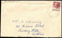 Lot 286 [2 of 6]:Mainly Postmarks On Cover: group. Strength in Victoria but from all over Australia, noted some paids, a few machine cancels and some FDCs. Plenty to go through here. Obviously many common POs but did notice 1951 violet Kerrisdale Vic, 1959 Delegate River Vic, 1957 Needles Tas. Should be well worth it at estimate. (c.500)