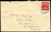 Lot 287 [1 of 5]:Mainly Victoria: pmks in envelopes, plus a group of about 80 covers or fronts incl poor but rare 1945 Nepean Dam NSW on Radio Licence, several reliefs, very nice Tas 1917 TPO 2 on 1d red on cover, Vic 1911 unframed Balkamaugh North x2 3R, very fine Vic 1914 Eng.Mail.T.P.O. IN on PPC (stamped removed). (1,000s)