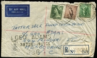 Lot 288 [1 of 8]:Registered Covers: in shoe box, mainly late 1950s to early 1960s. Mainly addressed to IA Watts and John Martin so mostly Melbourne and surrounds or South Australia, condition is mixed as expected with office mail. Plenty to go through here. Obviously many common POs but did notice a very rare 1956 SA registered cover from Watson (opened for the Maralinga Nuclear tests). (c.1,100)