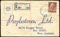 Lot 289 [1 of 8]:Registered Covers: in shoe box, mainly late 1950s to early 1960s. Mainly addressed to John Martin so mostly South Australia, condition is mixed as expected with office mail. Plenty to go through here. Obviously many common POs but did notice a 1958 Wool Bay, 1961 Island Bend, 1959 Ferryden Park North & 1959 Jervois. (c.1,200)