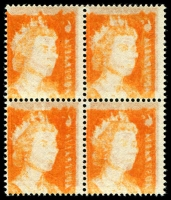 Lot 716:1970-73 6c Orange block of 4 with very strong Offset, BW #446c, Cat $400+.