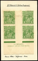 Lot 290 [3 of 6]:1d Green mint selection with Single Wmk Harrison plate 3 imprint block of 4 (N over M), Harrison plate 4 imprint pair & Mullett plate 4 imprint block of 4 and catalogued varieties x5. Plus Large Mult Wmk varieties x4 & No Wmk Plate 3 imprint block of 4 and catalogued varieties x5. Total Cat $850+. (17 items)