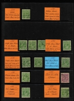Lot 199 [2 of 2]:1d Varieties Selection of mainly used stamps, mainly reds & greens from all wmks, many catalogued varieties, some errors of identification, plus a couple of covers. Many fine flaws. (100+)