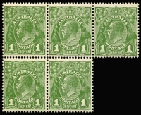 Lot 670:1d Green block of 5 [IV33-5,39-40] with Steel substitutions & Thin G retouch re-entered, BW #82(2)jb,kb,la, nice positional piece, Cat $100++.