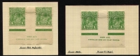 Lot 236 [2 of 4]:1d Green mint selection with 2 different imprint pairs and and Ash plate 4 imprint block of 6. Plus CofA 2 different imprint blocks of 4, retouched wattle line & flaw under neck block of 4 and run N retouched in corner pair. (7 items)