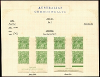 Lot 236 [3 of 4]:1d Green mint selection with 2 different imprint pairs and and Ash plate 4 imprint block of 6. Plus CofA 2 different imprint blocks of 4, retouched wattle line & flaw under neck block of 4 and run N retouched in corner pair. (7 items)