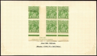 Lot 236 [1 of 4]:1d Green mint selection with 2 different imprint pairs and and Ash plate 4 imprint block of 6. Plus CofA 2 different imprint blocks of 4, retouched wattle line & flaw under neck block of 4 and run N retouched in corner pair. (7 items)