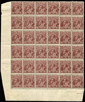 Lot 671 [2 of 2]:1½d Black-Brown Die I Electro 4 [1] block of 24 [4L1-24] catalogued varieties on units 4 & 17, MUH, Branxholme cds of MY13/19 on margin, [2] reassembled block of 36 [4L25-60] unfortunately columns 5 & 6 do not belong, 21 units MUH. (2 blks)