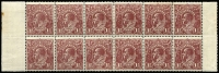 Lot 277 [3 of 4]:1½d Brown Die I Electro 3 [1] block of 12 [3L19-30] units 22 & 26 catalogued varieties, 2 units hinged; [2] block of 12 [3L27-39,43-45,49-52,55-57] unit 49 catalogued variety, creasing on 5 units, MUH; [3] block of 4 [3L31-32,37-38] unit 31 catalogued variety 2 units hinged; [4] block of 10 [3R50-54,56-60], 3 units creased, MUH. (4 blks)