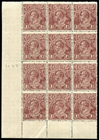 Lot 277 [1 of 4]:1½d Brown Die I Electro 3 [1] block of 12 [3L19-30] units 22 & 26 catalogued varieties, 2 units hinged; [2] block of 12 [3L27-39,43-45,49-52,55-57] unit 49 catalogued variety, creasing on 5 units, MUH; [3] block of 4 [3L31-32,37-38] unit 31 catalogued variety 2 units hinged; [4] block of 10 [3R50-54,56-60], 3 units creased, MUH. (4 blks)