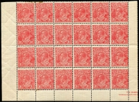 Lot 278 [2 of 2]:1½d Red Die I Electro 17 MUH half pane of 30 [17L1-30] units 7 White flaw below AL of AUSTRALIA, unit 16 White flaw on A of POSTAGE, unit 20 Scratched electro & unit 30 Notch in right frame opposite emu's head, part pane of 24 [17L37-60] unit 37 Two white flaws on kangaroo's shoulder, unit 39 GE of POSTAGE joined, unit 58 White flaw right of left value tablet, couple of spots and a few units affected by light creasing. (2 blocks)