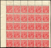 Lot 278 [1 of 2]:1½d Red Die I Electro 17 MUH half pane of 30 [17L1-30] units 7 White flaw below AL of AUSTRALIA, unit 16 White flaw on A of POSTAGE, unit 20 Scratched electro & unit 30 Notch in right frame opposite emu's head, part pane of 24 [17L37-60] unit 37 Two white flaws on kangaroo's shoulder, unit 39 GE of POSTAGE joined, unit 58 White flaw right of left value tablet, couple of spots and a few units affected by light creasing. (2 blocks)