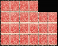 Lot 279 [2 of 2]:1½d Red Die I Electro 17 MUH corner block of 20 (4x5) [17L31-58] unit 37 Two white flaws on kangaroo's shoulder, unit 39 GE of POSTAGE joined, unit 58 White flaw right of left value tablet, MUH irregular block of 24 (some perf separation) [17R19-22,25-42] unit 19 White spot on kangaroo's body, unit 21 Retouched SE corner unit 22 Retouched SW corner, unit 27 Notched NE corner & unit 28 Notched NW corner. (2 blocks)
