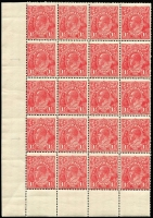 Lot 279 [1 of 2]:1½d Red Die I Electro 17 MUH corner block of 20 (4x5) [17L31-58] unit 37 Two white flaws on kangaroo's shoulder, unit 39 GE of POSTAGE joined, unit 58 White flaw right of left value tablet, MUH irregular block of 24 (some perf separation) [17R19-22,25-42] unit 19 White spot on kangaroo's body, unit 21 Retouched SE corner unit 22 Retouched SW corner, unit 27 Notched NE corner & unit 28 Notched NW corner. (2 blocks)