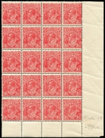 Lot 280 [2 of 2]:1½d Red Die I Electro 17 MUH corner block of 32 (4x8) [17L13-58] catalogued flaws on units 16, 20, 37, 39 & 58, MUH corner block of 20 (4x5) [17R32-60] catalogued flaw on unit 48, few light creases. (2 blocks)