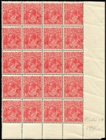 Lot 280 [1 of 2]:1½d Red Die I Electro 17 MUH corner block of 32 (4x8) [17L13-58] catalogued flaws on units 16, 20, 37, 39 & 58, MUH corner block of 20 (4x5) [17R32-60] catalogued flaw on unit 48, few light creases. (2 blocks)
