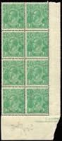 "Lot 217 [2 of 6]:1½d Green Die I Electro 14 [1] block of 4 [14L2-3,8-9], catalogued varieties on 3 & 8, light gum tones, MUH; [2] part imprint block of 8 [14L41-42 to 59-60] MUH, endorsed ""July 1923""; [3] pair [14L51-52] unit 51 catalogued variety, couple of small tonespots, MUH; [4] pair [14L31,37] hinged; [5] pair [14L54-60] lower unit MUH. (5 blks)"