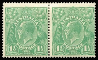 "Lot 217 [3 of 6]:1½d Green Die I Electro 14 [1] block of 4 [14L2-3,8-9], catalogued varieties on 3 & 8, light gum tones, MUH; [2] part imprint block of 8 [14L41-42 to 59-60] MUH, endorsed ""July 1923""; [3] pair [14L51-52] unit 51 catalogued variety, couple of small tonespots, MUH; [4] pair [14L31,37] hinged; [5] pair [14L54-60] lower unit MUH. (5 blks)"