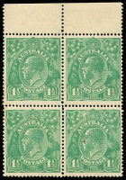 "Lot 217 [1 of 6]:1½d Green Die I Electro 14 [1] block of 4 [14L2-3,8-9], catalogued varieties on 3 & 8, light gum tones, MUH; [2] part imprint block of 8 [14L41-42 to 59-60] MUH, endorsed ""July 1923""; [3] pair [14L51-52] unit 51 catalogued variety, couple of small tonespots, MUH; [4] pair [14L31,37] hinged; [5] pair [14L54-60] lower unit MUH. (5 blks)"