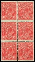 Lot 220 [3 of 5]:1½d Red Die I Electro 13 [1] strip of 3 [13L1,7,13] units 1 & 13 catalogued varieties, bottom unit MUH, unit 7 paper adhered to gum; [2] block of 4 [13L4-5,10-11] hinged; [3] block of 6 [13L15-16 to 27-28] central units MUH; [4] marginal strip of 4 [13L55-58] ACCC flaws on units 55,56 & 58 are all 2nd state; [5] part imprint pair [13L59-60] hinged in margin only. (5 blks)