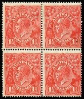 Lot 697 [2 of 5]:1½d Red Die I Electro 16 mint blocks ex noted, separated pair [16L55,56], unit 56 Retouched GE and shading, corner single [16L55], block of 4 [16L1-2,7-8] x2 unit 1 Cut in lower frame, unit 7 Eight wattles at left, block of 9 [16L15-17,21-23,27-29], unit 22 Shading lines broken left of crown retouched affecting crown & STR of AUSTRALIA, used block of 4 [16L2-3,8-9]. (6 items)