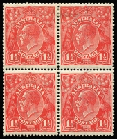 Lot 622 [1 of 5]:1½d Red Die I Electro 16 mint blocks ex noted, separated pair [16L55,56], unit 56 Retouched GE and shading, corner single [16L55], block of 4 [16L1-2,7-8] x2 unit 1 Cut in lower frame, unit 7 Eight wattles at left, block of 9 [16L15-17,21-23,27-29], unit 22 Shading lines broken left of crown retouched affecting crown & STR of AUSTRALIA, used block of 4 [16L2-3,8-9]. (6 items)