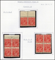 Lot 621 [3 of 8]:1½d Red Die I Electro 16 mint blocks ex noted, separated block of 4 [16L1-2,7-8] x2 unit 1 Cut in lower frame, unit 7 Eight wattles at left, block of 6 [16L34-35,40-41,46-47], MUH block of 4 [16L49-50,55-56] unit 56 Retouched GE and shading, MUH block of 4 [16R47-48,53-54], MUH marginal pair [16R4-5], MUH block of 4 [16R5-6,11-12] x2, block of 6. Plus Green MUH corner strip of 3 [16L55-57] unit 56 Retouched GE and shading, irregular block 12 [16R39-42,45-48,51-52,57-58]. (10 blocks)