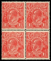 Lot 621 [1 of 8]:1½d Red Die I Electro 16 mint blocks ex noted, separated block of 4 [16L1-2,7-8] x2 unit 1 Cut in lower frame, unit 7 Eight wattles at left, block of 6 [16L34-35,40-41,46-47], MUH block of 4 [16L49-50,55-56] unit 56 Retouched GE and shading, MUH block of 4 [16R47-48,53-54], MUH marginal pair [16R4-5], MUH block of 4 [16R5-6,11-12] x2, block of 6. Plus Green MUH corner strip of 3 [16L55-57] unit 56 Retouched GE and shading, irregular block 12 [16R39-42,45-48,51-52,57-58]. (10 blocks)