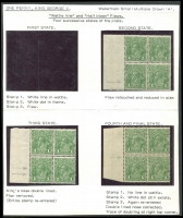 Lot 260 [2 of 3]:1d Green 4 marginal blocks of 4 with [1] Wattle Line, Nick near top of left frame & Flaw under neck; [2] Wattle Line - state I, Nick near top of left frame & Flaw under neck - State II retouched; [3] Wattle Line - state II, Nick near top of left frame & Flaw under neck - State III re-entry on bridge of nose & under RVT; & [4] P13½x12½ Wattle Line - state III, Nick near top of left frame & Flaw under neck - State IV re-entry on bridge of nose & under RVT; BW #80(4)f,g,h & f,g,ha & fa,g,hb & 81(4)fb,g,hc, bottom stamps generally MUH, Cat $1,225+. A nice group to show the various states of these flaws. (4 blocks)