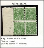 Lot 738 [3 of 3]:1d Green 4 marginal blocks of 4 with [1] Wattle Line, Nick near top of left frame & Flaw under neck; [2] Wattle Line - state I, Nick near top of left frame & Flaw under neck - State II retouched; [3] Wattle Line - state II, Nick near top of left frame & Flaw under neck - State III re-entry on bridge of nose & under RVT; & [4] P13½x12½ Wattle Line - state III, Nick near top of left frame & Flaw under neck - State IV re-entry on bridge of nose & under RVT; BW #80(4)f,g,h & f,g,ha & fa,g,hb & 81(4)fb,g,hc, bottom stamps generally MUH, Cat $1,225+. A nice group to show the various states of these flaws. (4 blocks)