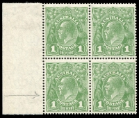 Lot 738 [1 of 3]:1d Green 4 marginal blocks of 4 with [1] Wattle Line, Nick near top of left frame & Flaw under neck; [2] Wattle Line - state I, Nick near top of left frame & Flaw under neck - State II retouched; [3] Wattle Line - state II, Nick near top of left frame & Flaw under neck - State III re-entry on bridge of nose & under RVT; & [4] P13½x12½ Wattle Line - state III, Nick near top of left frame & Flaw under neck - State IV re-entry on bridge of nose & under RVT; BW #80(4)f,g,h & f,g,ha & fa,g,hb & 81(4)fb,g,hc, bottom stamps generally MUH, Cat $1,225+. A nice group to show the various states of these flaws. (4 blocks)