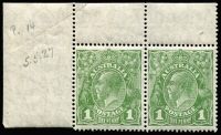 Lot 656:1d Green TLC pair on Translucent paper, left unit with Secret mark, BW #80aa(4)d, hinged in margin only, Cat $200+. Nice multi-variety pair.
