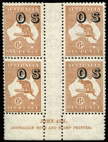 Lot 576:6d Chestnut Overprinted 'OS' with Ash Imprint block of 4 ('N' over 'N'), BW #23(OS)3z, MUH, Cat $800 as hinged.