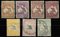 Lot 573 [2 of 2]:Set To £2 fine used, 5/- with Opened mouth roo variety, Cat $1,200+.