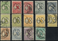 Lot 505 [2 of 2]:Perf Large 'OS' Selection ½d to 2/- (1d Dies I & II, 3d Dies I & II and 4d x3 shades), Cat $2,000+. Fine group (15)