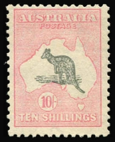 Lot 570:10/- Grey & Pale Pink BW #49, MUH, Cat $3,000.