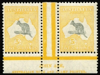 Lot 568:5/- Grey & Yellow Ash imprint pair with variety (D)v White flaw off NSW coast, BW #45zg, MVLH, good perfs, Cat $2,900.