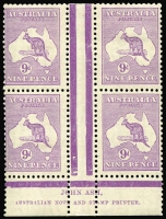 Lot 565:9d Violet Plate 3 Ash Imprint block of 4, BW #28(3)z, unit 3L60 Flaw in shading off NE Coast of Tasmania, typical centring, mounted centrally in upper gutter just impinging on adjoining units, lower units MUH, Cat $1,500+.