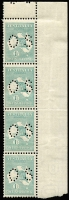 Lot 536:1/- Emerald Die IIB Perf 'OS' plate 3 marginal vertical strip of 4 [3R6,12,18,24], BW #33ba, light crease on unit 18, hinged in margin only, Cat $900.