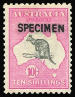Lot 559:10/- Grey & Pink Optd 'SPECIMEN' Type B BW #48x, unlisted variety Break in shading line NW of Broome' [R6], Cat $600.