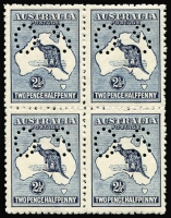 Lot 536:2½d Indigo Perf 'OS' block of 4, BW #11b, well centred, fresh MUH, Cat $1,400+.