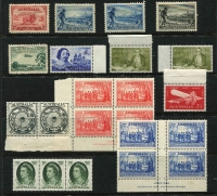 Lot 209 [2 of 4]:Mint Accumulation with imprints large blocks and sheets, strength in the late 1940s onwards, incl 1938 Sesqui set in MUH imprint blocks of 4. Lots of material here should be hours of fun for the lucky purchaser. Plus a small group of used. (1,000s)
