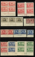 Lot 209 [3 of 4]:Mint Accumulation with imprints large blocks and sheets, strength in the late 1940s onwards, incl 1938 Sesqui set in MUH imprint blocks of 4. Lots of material here should be hours of fun for the lucky purchaser. Plus a small group of used. (1,000s)