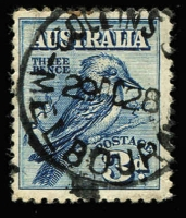 Lot 679 [1 of 2]:1930 Sturt pair plus 3d blue Kooka single from MS all with correct FDI cancels from Collins St. (3)