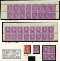Lot 781 [3 of 3]:1938-44 Medallion Flaw on 2d scarlet & 2½d Surcharge, both used, & 2d mauve on used single & block of 4 and mint top block of 16 x2 (one with single gutter line & the other with double gutter line) BW #188e,189e,222d, Cat $700+. Plus 2d mauve corner block of 6 with large colour flaw in margin. (7 items)