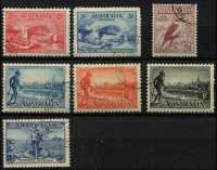 Lot 677 [2 of 3]:KGV CTO Commemoratives selection incl 6d engraved Kooka, 1931 KSmith set of 3, 1934 Vic Centenary set, 1934 9d Macarthur, all non-OS. Most with full gum. (18)