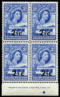 Lot 1397:1961 QEII Surcharges 2½c on 3d Waterlow imprint block of 4, lower left unit variety Spaced 'c' [R 10/3] SG #160a, fresh MUH, Cat £255+.